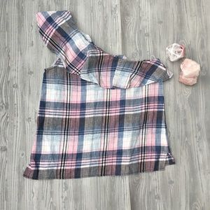 Cloth and stone one shoulder plaid top